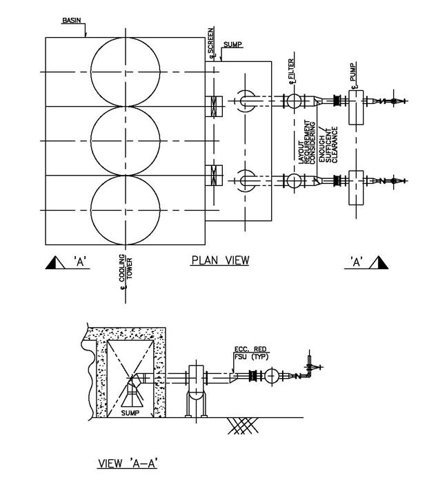 Fig 8 Typical suction piping for a cooling tower